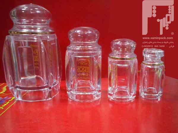 قوطی های شیشه ای اطلسی زعفران
