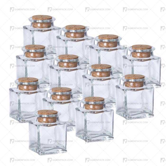 نمونه ظرف شیشه ای چوب پنبه دار