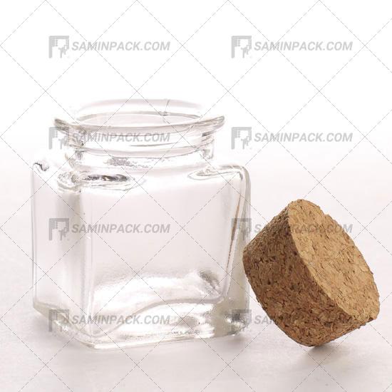 ظرف شیشه درب چوب پنبه دار